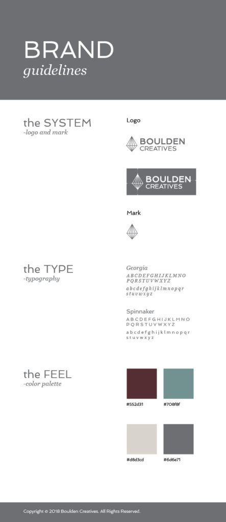 Logo, typography and colors used in Boulden Creatives' brand