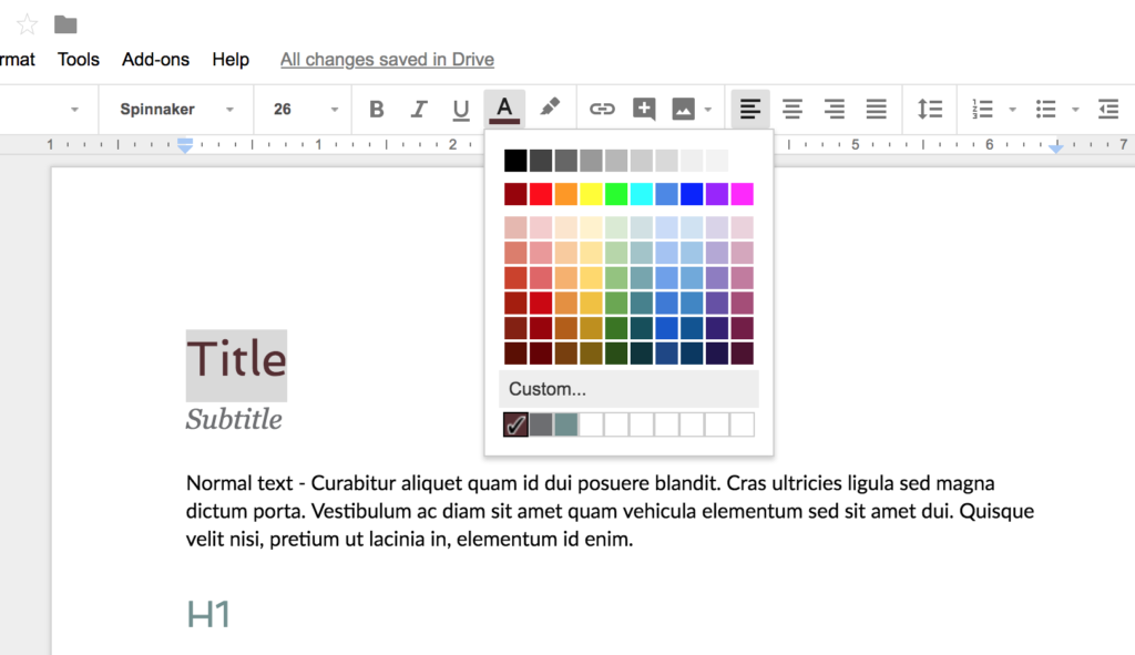 The color menu in Google Docs to change the color of text.