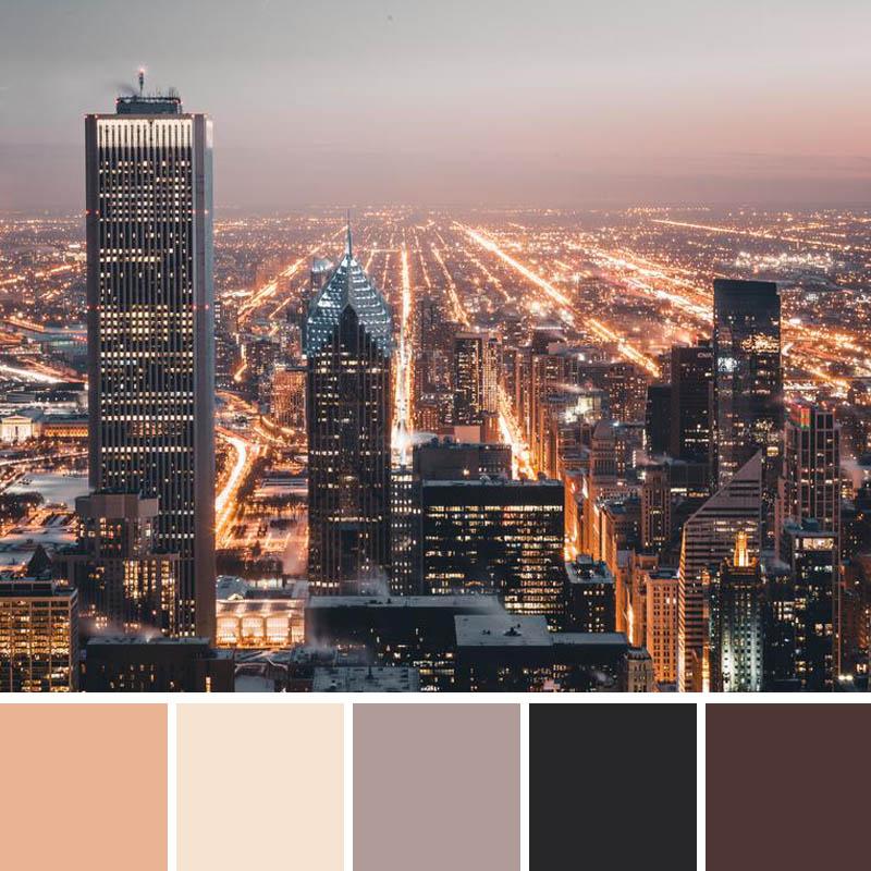Warm city light tones.