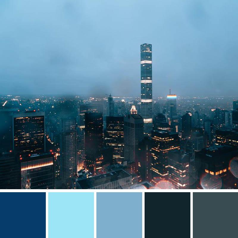 Monochromatic color scheme of blues.
